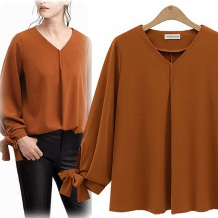 Oversize Women Long Sleeve Tops Autumn Blouse Loose Casual Solid Bowtie V-Neck