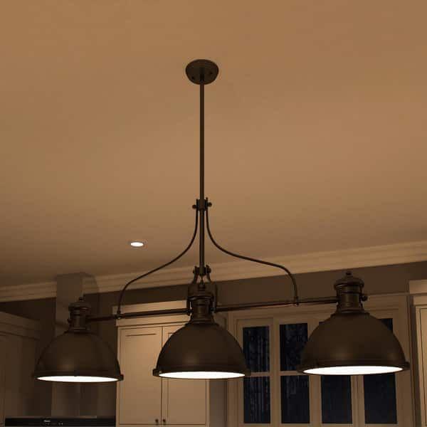 Vonn Lighting VVC31203BZ Dorado 53-inch Linear Hanging Industrial Bronze Chandelier with LED Filament Bulbs