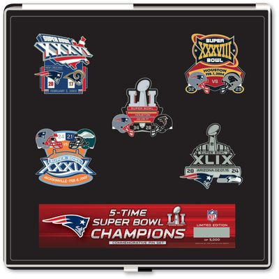 New England Patriots 5-Time Super Bowl Champions Pin Set