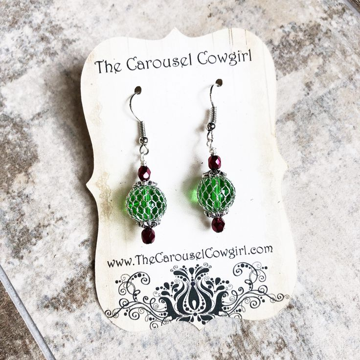 Christmas Ornament Earrings, Red and Green Earrings, Caged Glass Christmas Earrings, Christmas Earrings, Holiday Earrings, Festive Earrings by CarouselCowgirl on Etsy