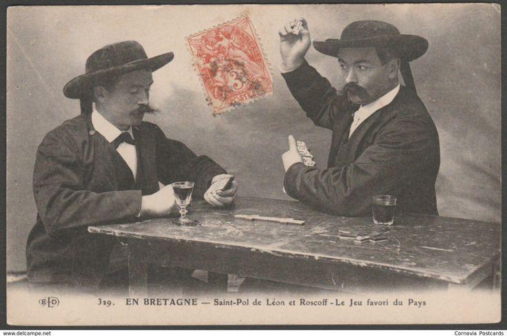 Domino Players, St Pol de Léon et Roscoff, France, c.1905 - Le Deley CPA