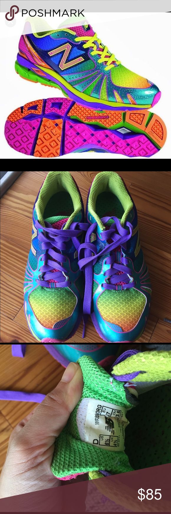 New balance 890 Revlite Rainbow running shoes RARE New Balance 890 Revlite Rainbow running shoes. Absolutely stunning! Women's Size 6.5D (I think D means wide, but my foot's not wide and they fit me fine). No box. Only worn a few times, very good used condition. New Balance Shoes Athletic Shoes