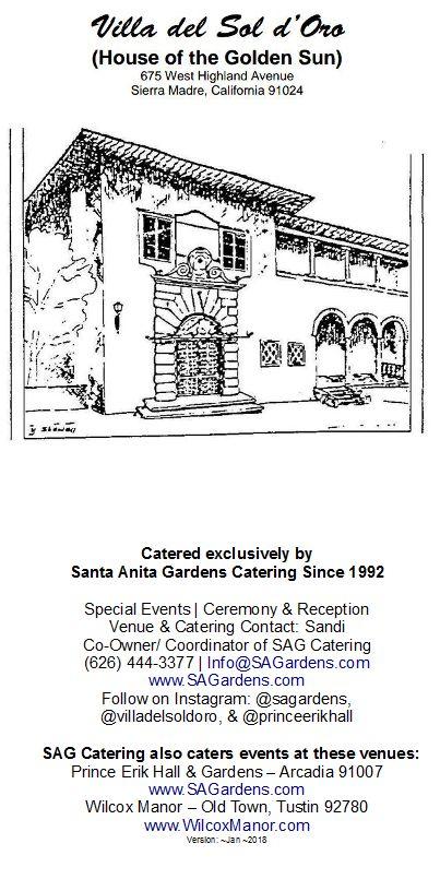 As of ~2018 - Pg 1 of 6: The Villa del Sol d'Oro Venue & Catering Brochure