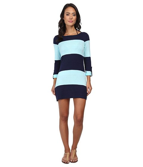 Tommy Bahama Beach Sweater Bold Stripe w/ Roll Up Sleeve Cover-Up Mare/Swimming Pool - 6pm.com