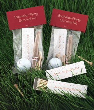 Bachelor Party Favors - golf ball, tees, matchbook, and a cigar. Clever.