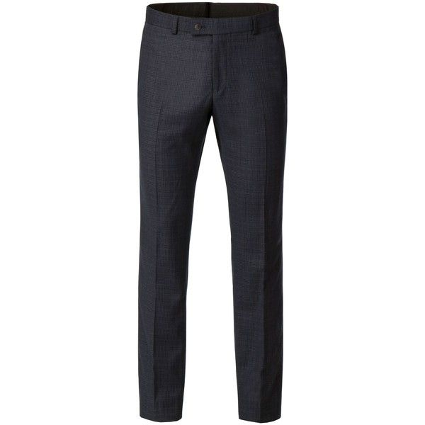 Ben Sherman Tobin Charcoal Blue Puppytooth Trouser (255 BRL) ❤ liked on Polyvore featuring men's fashion, men's clothing, men's pants, men's dress pants, mens blue dress pants, mens houndstooth dress pants, mens slim fit wool pants, mens slim fit dress pants and mens wool pants