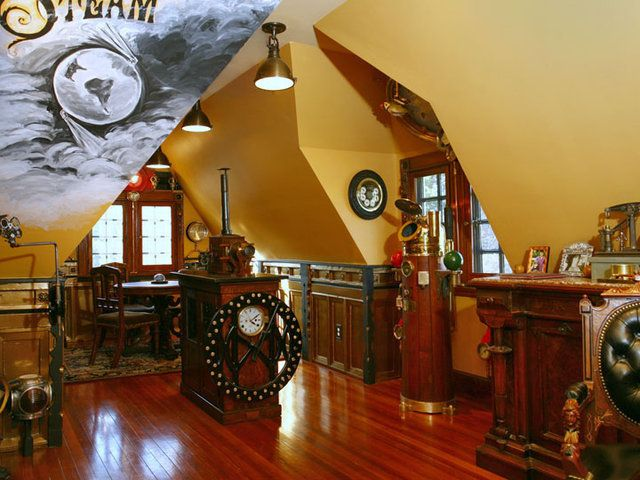 Steampunk house.: Decor Ideas, Steampunk Fashion, Offices Spaces, Steam Punk, Home Offices Design, Crazy Steampunk, Steampunk House, Steampunk Home, Design Style