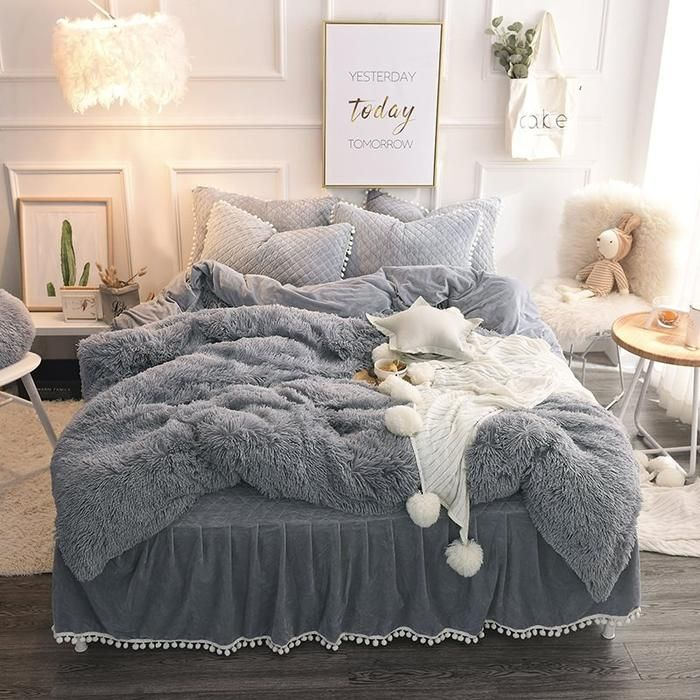 Fluffy Solid Gray Quilting Bed Skirt 4 Piece Bedding Sets Duvet Cover Bedding Sets Grey Bed Linens Luxury Fluffy Bedding