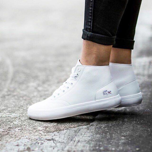 lacoste ren233 chunky high top leather whiteplatinum