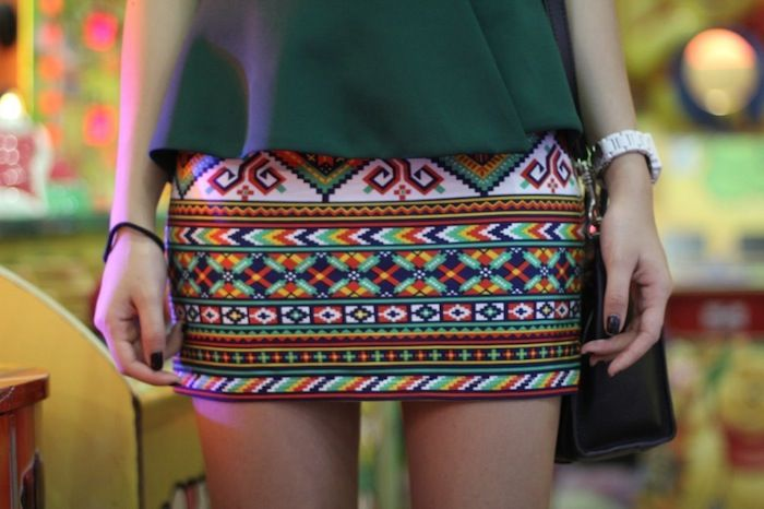 Stephanie rocking our Mayan skirt