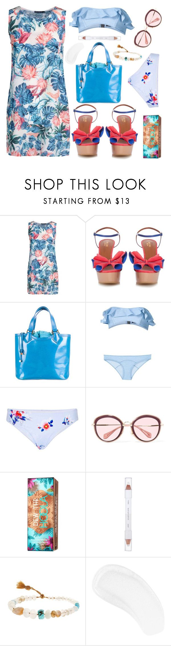 """A day by the sea.... ( Top Set)"" by sue-mes ❤ liked on Polyvore featuring We Are Handsome, Malone Souliers, Louis Vuitton, Lisa Marie Fernandez, Cynthia Rowley, Miu Miu, Hoola, shu uemura, Lena Skadegard and Temptu"