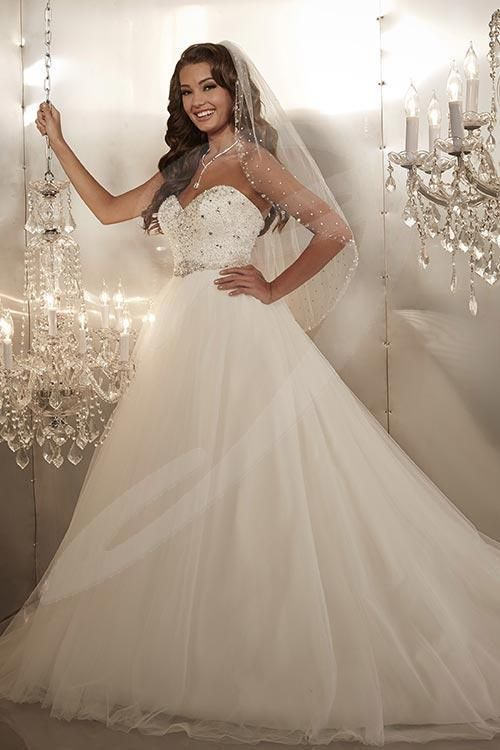 Balletts Bridal - 21815 - Wedding Gown by Jacquelin Bridals Canada - Tulle over satin ball gown with strapless sweetheart neckline, heavily beaded bodice, and beaded belt detail at waist.