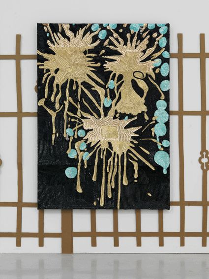 Suburban Splash, with earrings 2012, paillettes cucite su tela. Courtesy Studio la Città (c)Michele Alberto Sereni