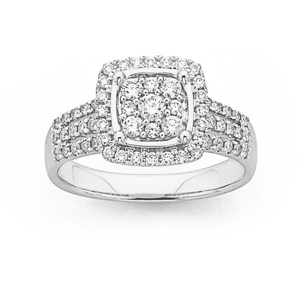 Latest Trend Engagement Ring Style! 9ct White Gold Diamond Cluster Ring Total Diamond Weight=.76ct