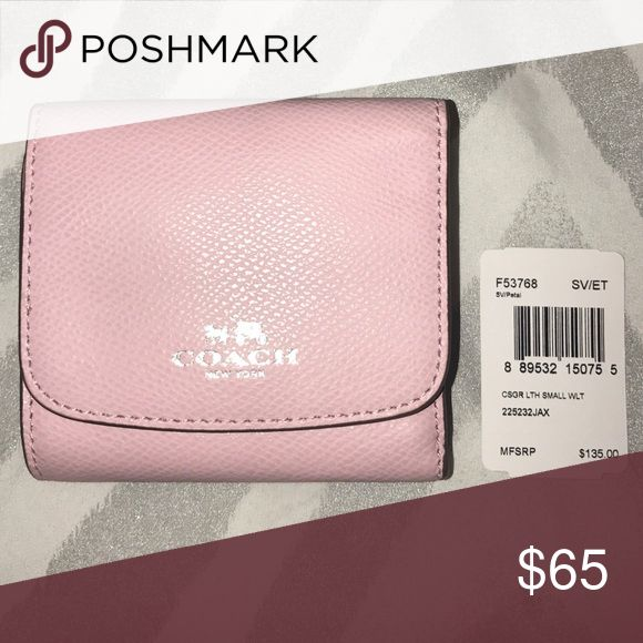 "Coach small leather wallet mini trifold Ballerine  pink with silver letters Crossgrain leather 9 credit card pockets Snap closure Outside snap pocket 4 1/4"" (L) x 3 3/4"" (H) Bags Wallets"