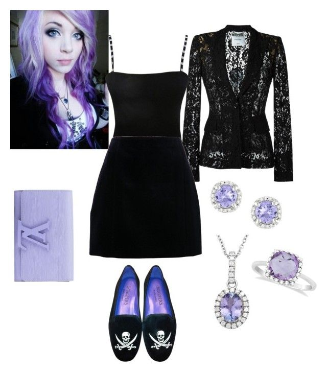 """""""Casual Gothic"""" by bloody-crumpet-666 ❤ liked on Polyvore featuring Moschino, Jean Muir, Allurez, Ice and Louis Vuitton"""