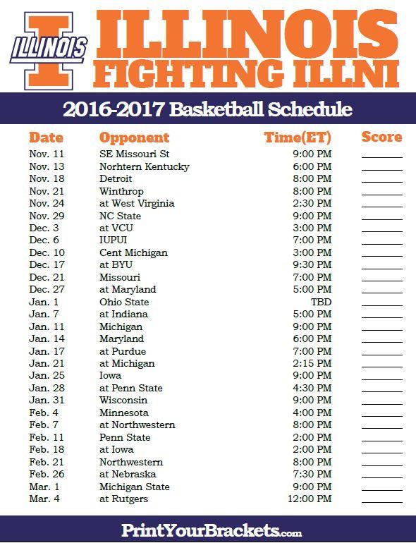 Illinois Fighting Illini 2016-2017 College Basketball Schedule