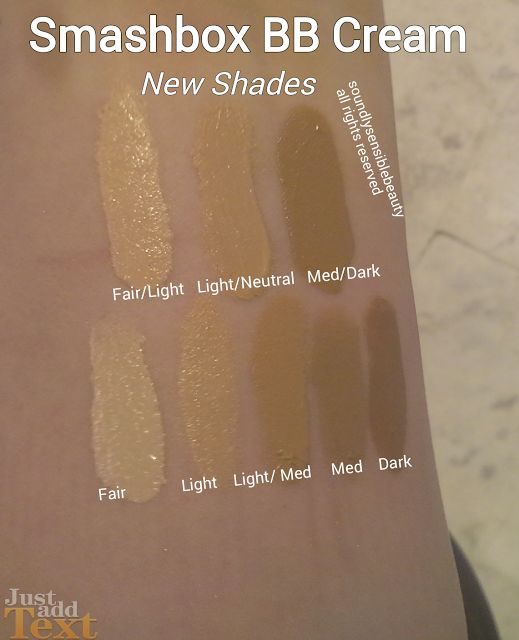 Smashbox BB Cream Fair/Light/Neutral/Medium/Dark Shades Swatched