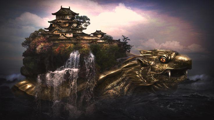 Free Dragon Art Wallpaper   New Fantasy Castle And Golden ...