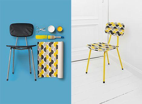 DIY: een oud stoeltje opfrissen met een restje behang / www.woonblog.be