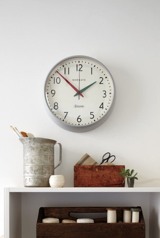 *new* schoolhouse wall clock in gray with green/red hands - coming soon to Rejuvenation