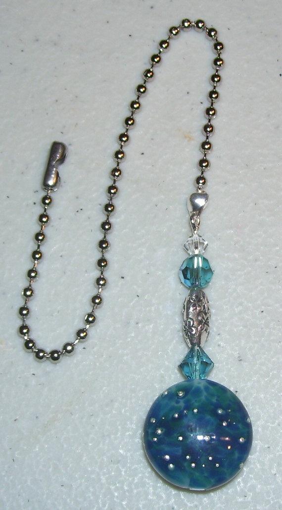 Ceiling Fan Pull Lampwork Bead Swarovski Crystal by mommazart, $14.00