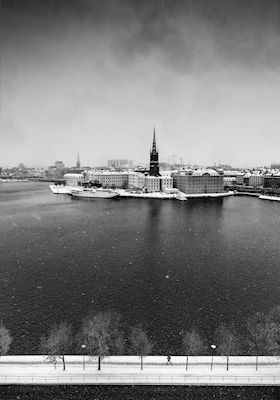 Snow Covered Stockholm BW. Available as poster at printler.com, the marketplace for photo art. Photographer Calle Artmark.
