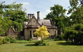 Обои сад, North Rauceby, Lincolnshire, деревья, Великобритания, дом, лужайка, трава