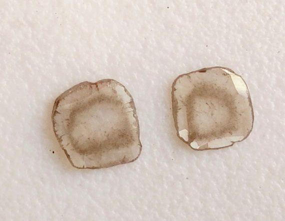 2 Pcs Rare Diamond Slice 5mm Natural Cushion Cut Black &