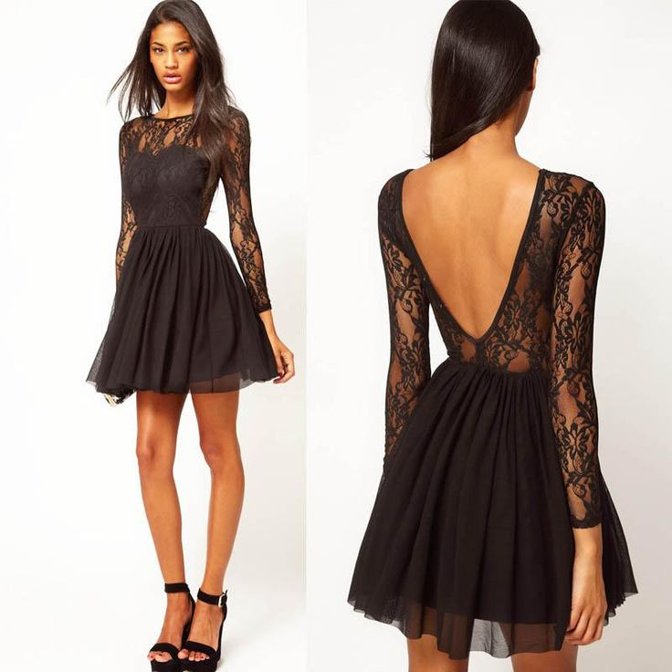 Black lace long sleeve a line dress