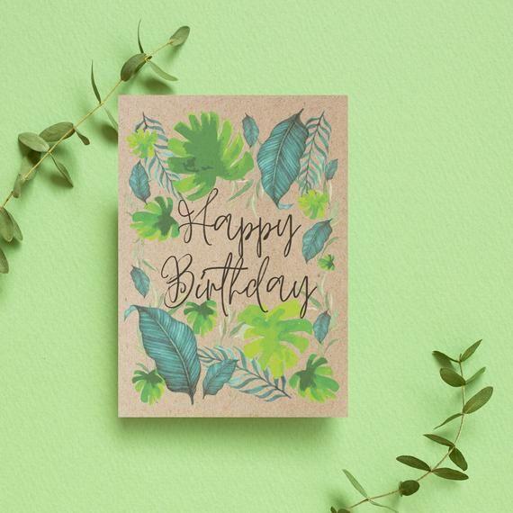 Tropical Happy Birthday Card Funky Leaf Print Eco Friendly Etsy Happy Birthday Cards Unique Birthday Cards Birthday Cards