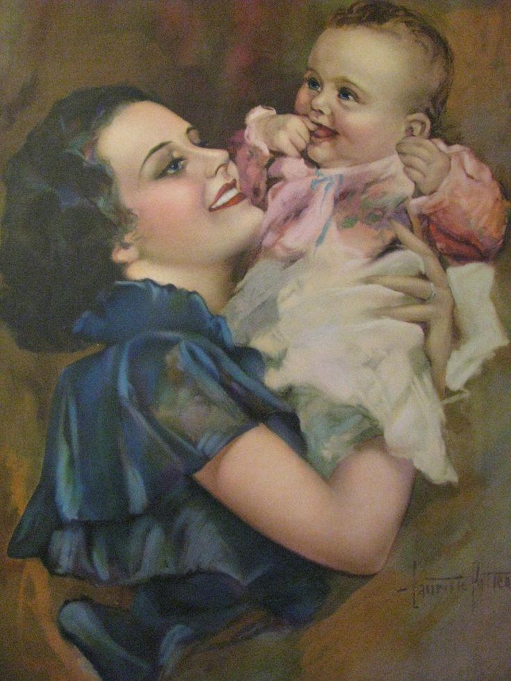 Открытка мама и ребенок, хранит