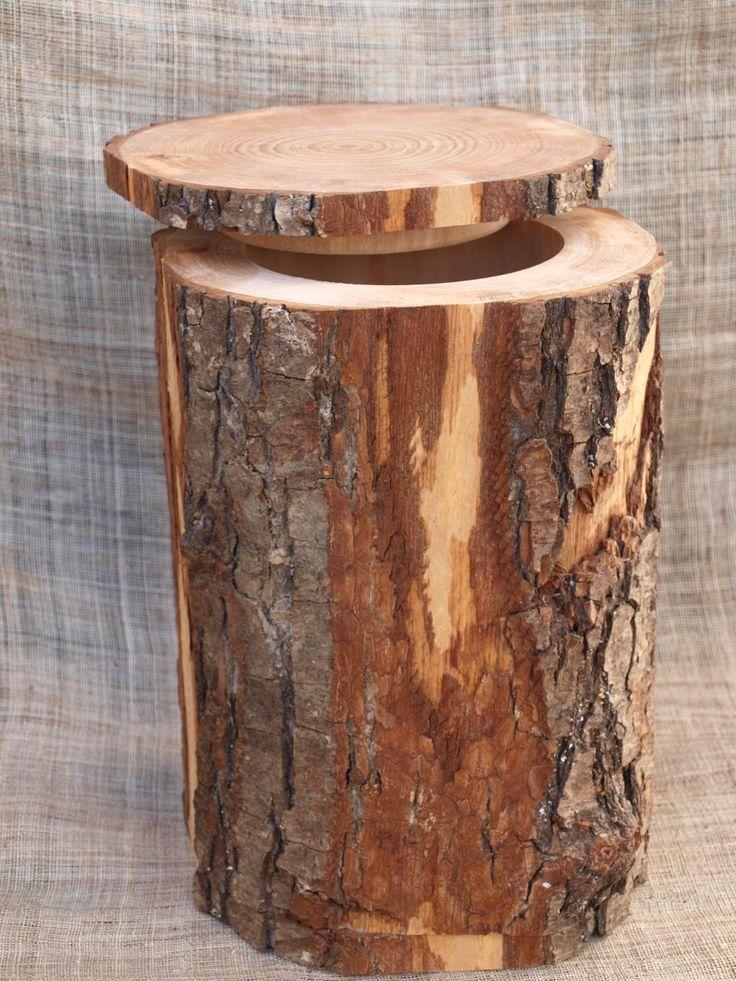 Urne cinéraire en bois tronc d'arbre
