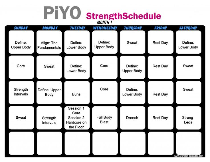 The  Best Piyo Workout Calendar Ideas On   Piyo Piyo