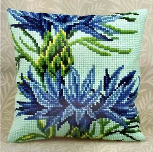 "Collection D'Art Cross Stitch Kit 16"" x 16"" Bleuet Pillow 5132 Sale"