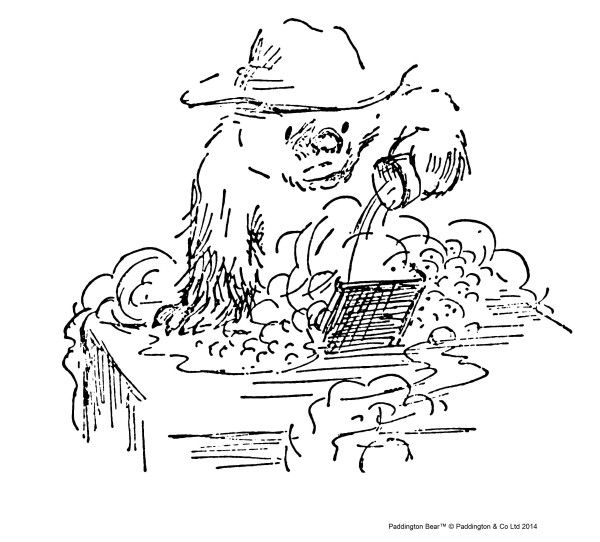 'Paddington spent the first ten minutes rushing between the four machines pouring soap through the holes in the top as fast as he could. There was a nasty moment when he accidentally poured some soap in number ten by mistake and all the water bubbled over the side, but the lady whose machine it was was very nice about it and explained she'd already put two lots in.'  From 'Paddington Helps Out' by Michael Bond