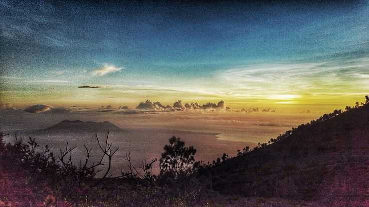 Mount Baluran and Bali Strait, seen from the peak of mount Ijen