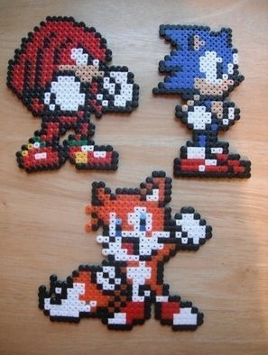 Sonic, Knuckles & Tails Perler Bead Sprites by Becca P.