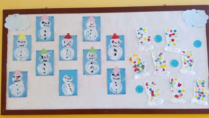 Zimná nástenka -snehuliaci, rukavičky