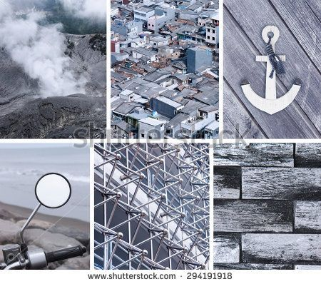 Collage of photos in gray colors