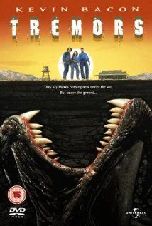 Tremors (1990), Universal Pictures and No Frills Film Production with Kevin Bacon, Fred Ward, Finn Carter, Reba McEntire, and Michael Gross. This was a fun flick.