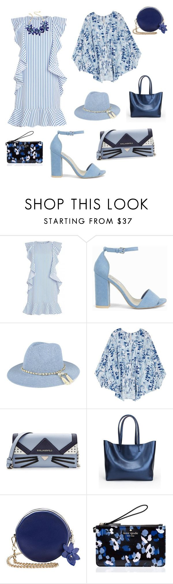 """Moreblue"" by daniellemercy ❤ liked on Polyvore featuring Nly Shoes, Melissa McCarthy Seven7, Karl Lagerfeld, Kate Spade and plus size clothing"