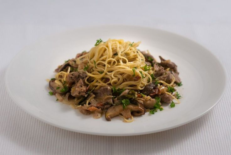 Shitake Mushrooms & Calves Liver Taglierini: 'Well many of us have hang-ups about liver, but here Dad makes it look as good as any other meat. It's worth reading Dad's comments on liver too…'