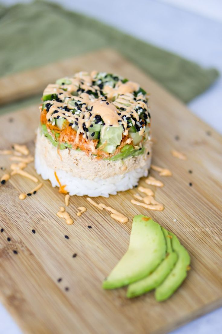 Spicy Tuna Sushi Stack. Added a thin layer of cream cheese between the tuna and rice.