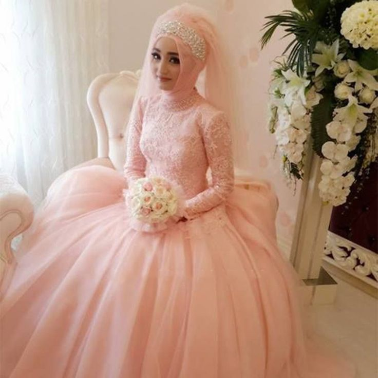magnifique arabe musulman robe de mariage faite sur commande appliques dentelle robes de marie col haut - Mariage Halal Droulement