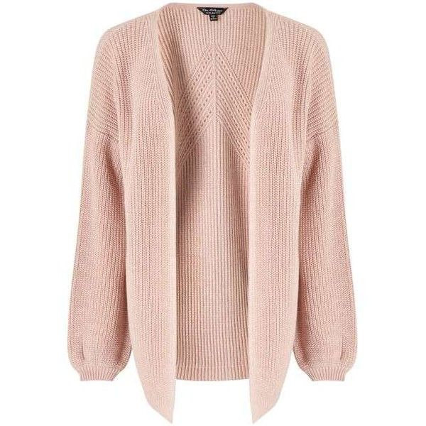 Pink Pointelle Knitted Cardigan ($80) ❤ liked on Polyvore featuring tops, cardigans, jackets, miss selfridge, miss selfridge tops, pointelle cardigan, pink cardigan and cardigan top