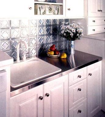 pressed tin backsplash w/ metal counter