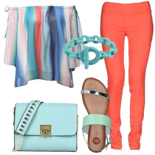 Spalle scoperte per questo insieme colorato con blusa multicolore e pantaloni color corallo. Sandalo basso verde chiaro e borsa a tracolla turchese. Ideale come outfit pomeridiano.