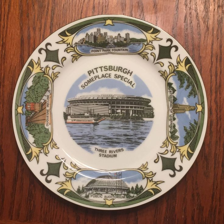 Vintage Wall Plate of the City of Pittsburgh- 1950's Light Blue, Green and White Vintage by FunkyVintageFun on Etsy https://www.etsy.com/listing/551943695/vintage-wall-plate-of-the-city-of