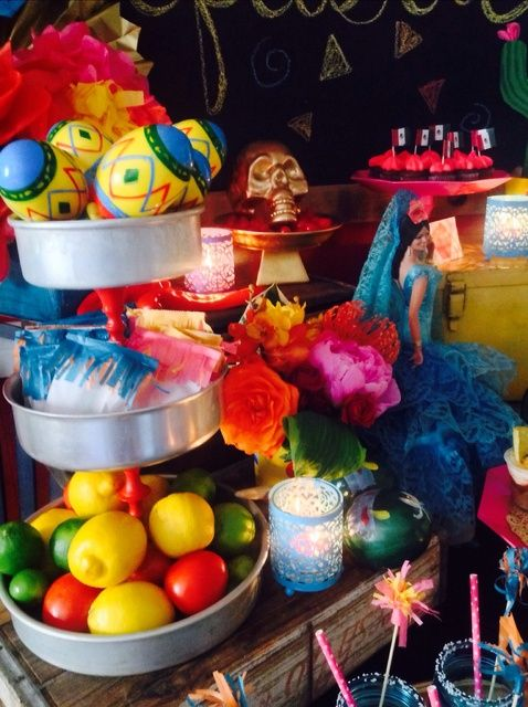 Colorful decorations at a Mexican Mother's Day Party!  See more party ideas at CatchMyParty.com!